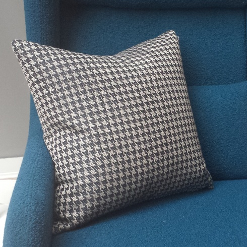 Houndstooth Mono Night Shadow Cushion. 19'' Square.