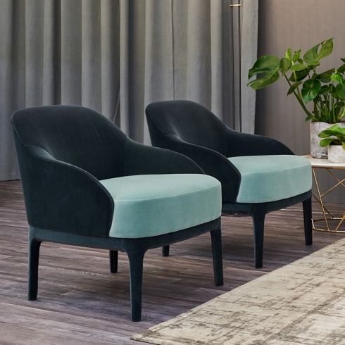 Ex-Display: Valentina Armchair, two-tone velvet