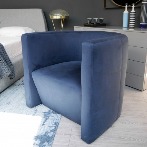 Ex-Display: Panama Armchair in Navy Blue Faux Suede Fabric