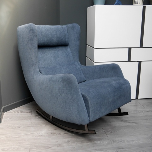 Ex-Display: Bonobo Rocking Chair in Blue Soft Fabric