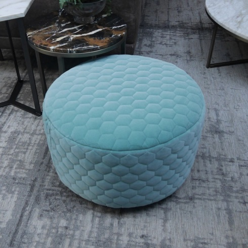 Ex-Display: Circa Footstool in Jade Green Cloud Fabric