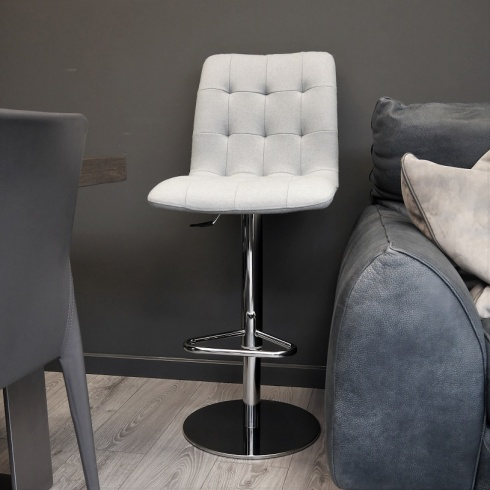Ex-Display: Leoni Gas-Lift Barstool in Aquamarine Wool. (2 Available)