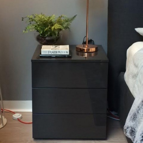 Ex-Display: Bond Bedside Table, Anthracite Gloss