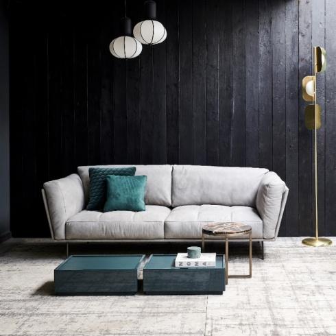 Darcy Italian Designer Leather Sofa, Stone