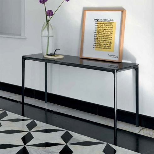 Fino Contemporary Italian Glass Console Table