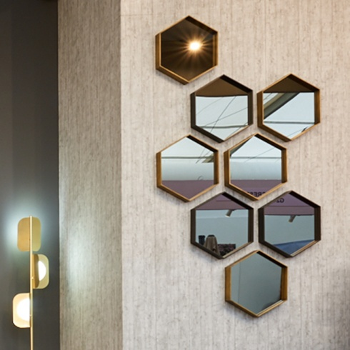 Ex-Display: Jupiter Hexagon Mirrors, set of 8