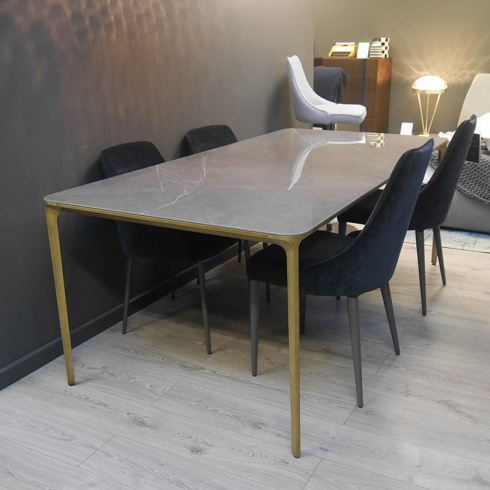 Ex-Display: Fino Ceramic & Brass Dining Table, L200cm