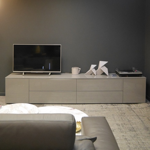 Ex-Display: Space TV Unit, High Gloss Ardesia Grey, 270cm