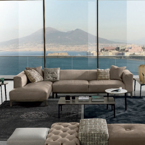 Riviera Minimal Italian Corner Sofa, Leather