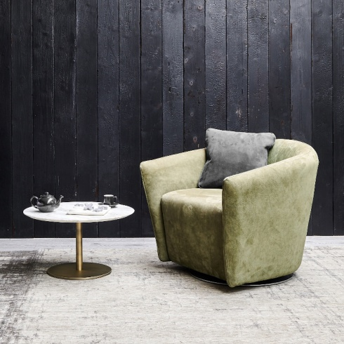 Ex-Display: Boutique Swivel Armchair in Green Nubuk Leather