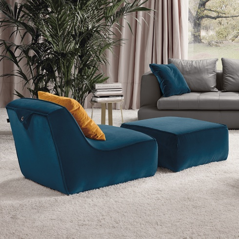Happy Modern Italian Armchair, Fabric or Leather