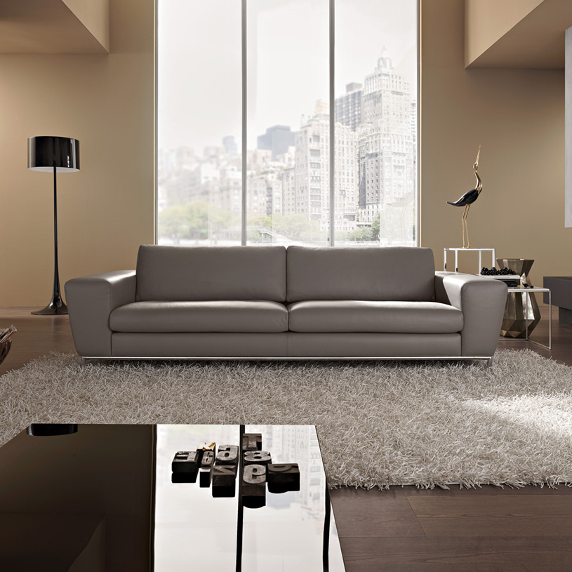Aria designer grey leather sofa Modern sofa grey