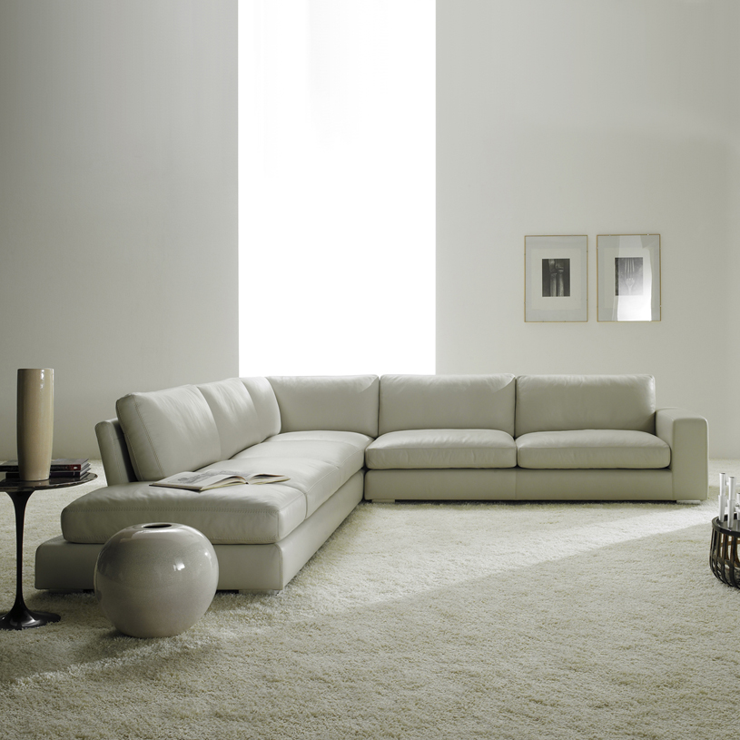 Relax Luxury Cream Leather Corner Sofa