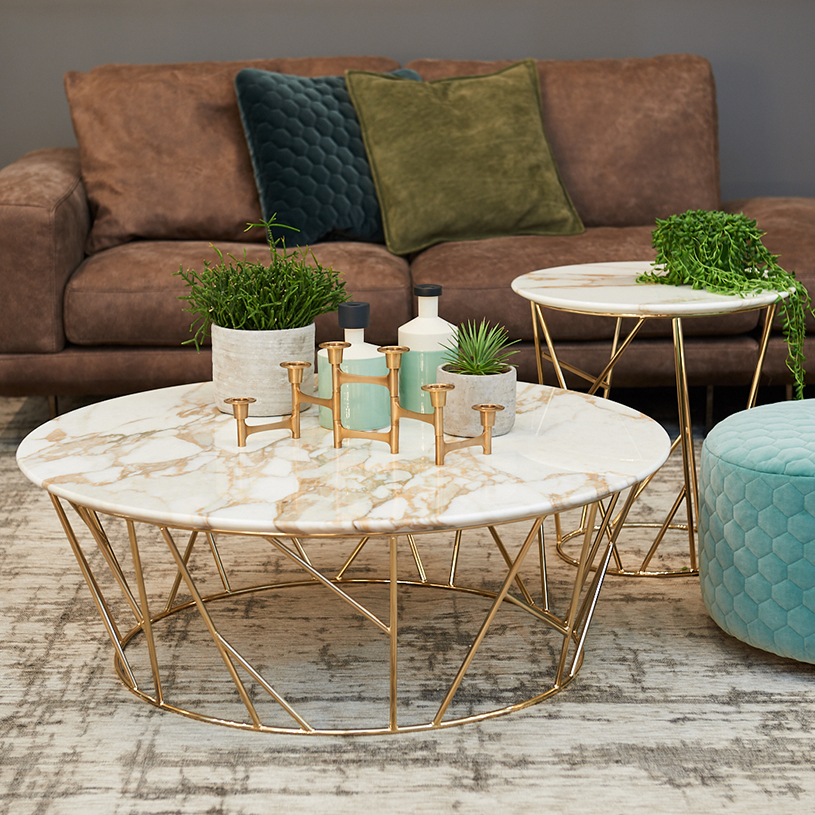 Klein Marble Coffee Table: Ex-Display: Fern Calacatta Gold Marble Coffee Table, D100cm