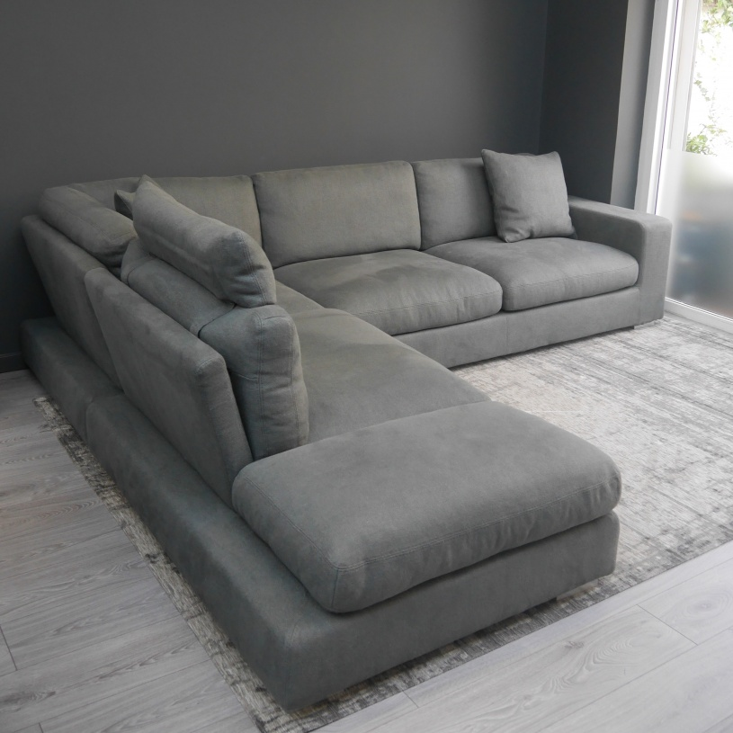 Good Ex Display: Relax Italian Corner Sofa In Grey Fabric Part 16
