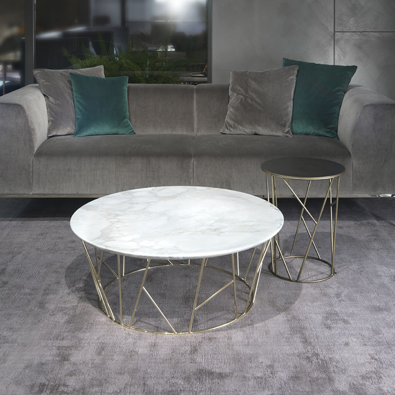 Gold Metal Round Coffee Table.Fern Round Marble Coffee Table