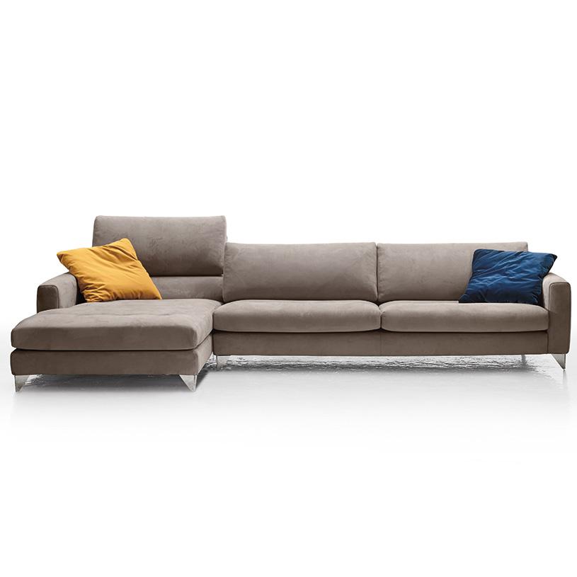 Relax Contemporary Italian Corner Sofa In Cream Leather: Florence Contemporary Italian Corner Sofa