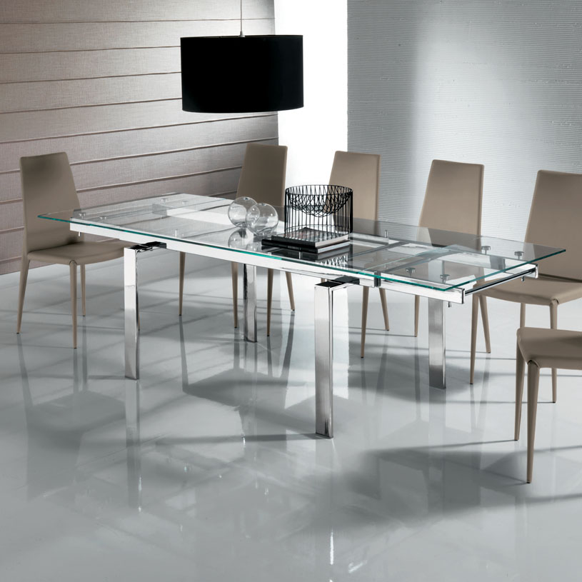Massimo extending clear glass dining table 160 240cm for Extendable glass dining table