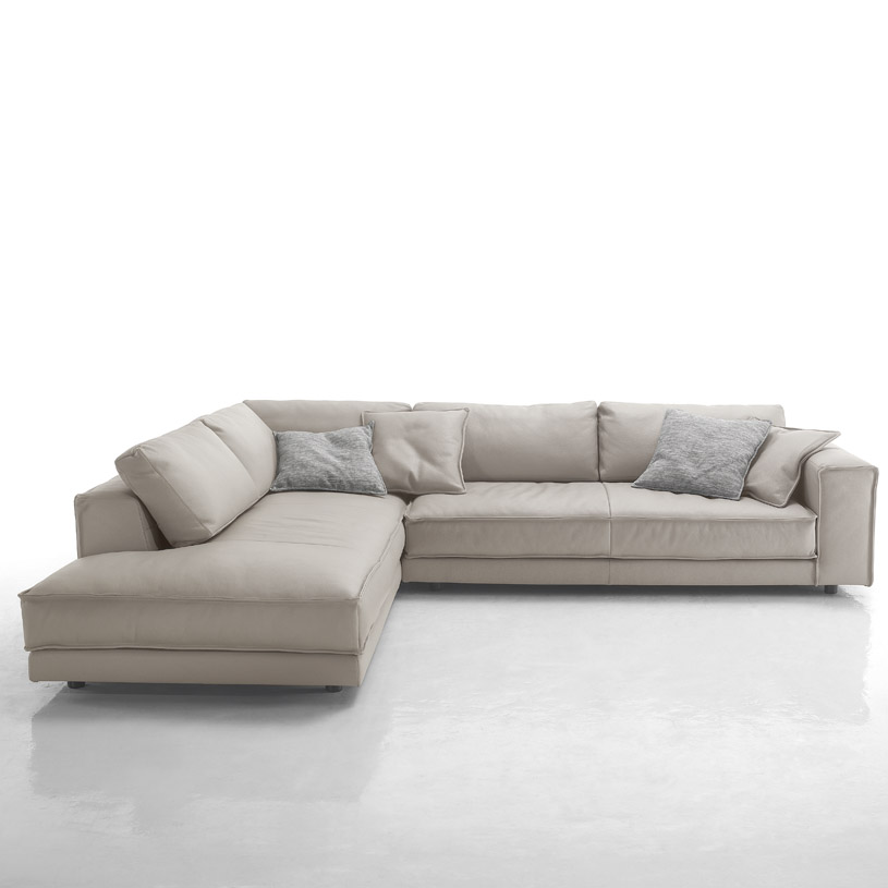 Minerale Italian Grey Leather Corner Sofa