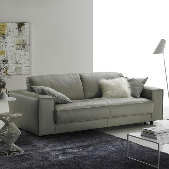 Minerale Modern Grey Leather Italian Sofa
