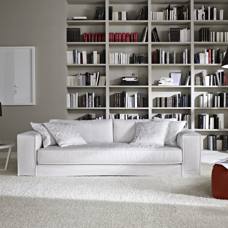 Minerale Modern Grey Leather Italian Sofa