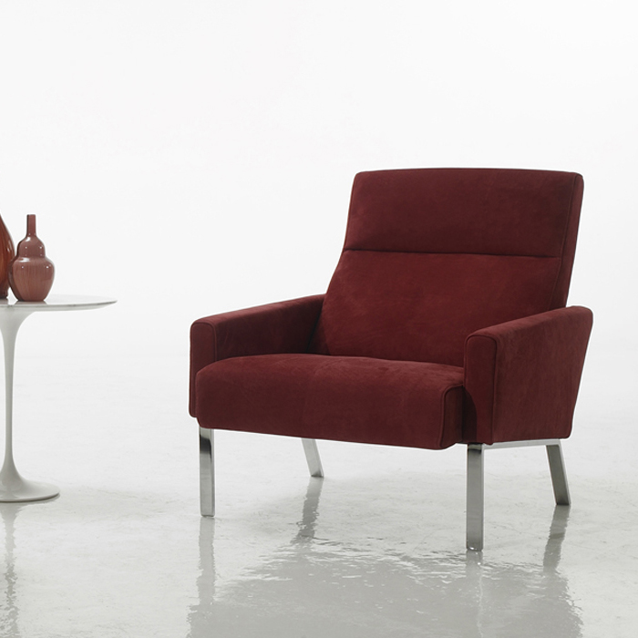 Montague red italian leather armchair for Modern armchair