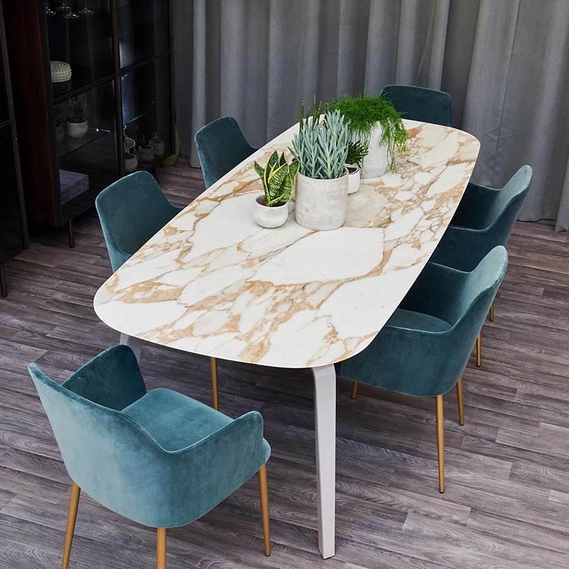 Oia White Marble Dining Table Oak 100cm: Pebble Marble Dining Table, White