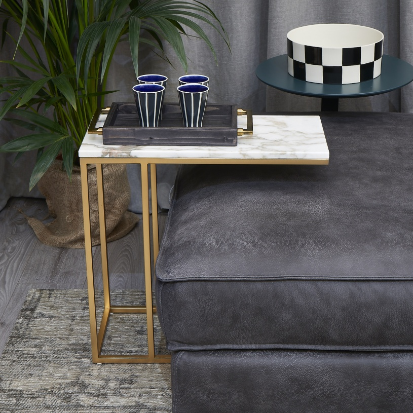 Porto Marble Amp Brass Serving Side Table