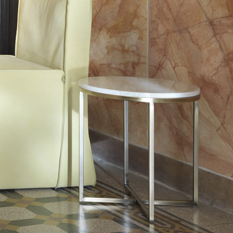 Porto Round Marble Amp Brass Side Table