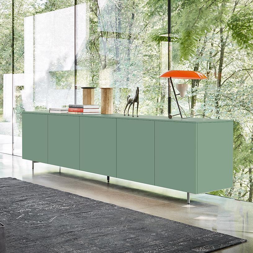 space modern white gloss sideboard 300cm. Black Bedroom Furniture Sets. Home Design Ideas