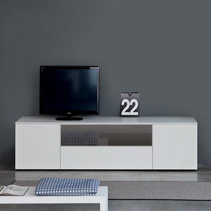 Space White High Gloss Tv Unit 240cm