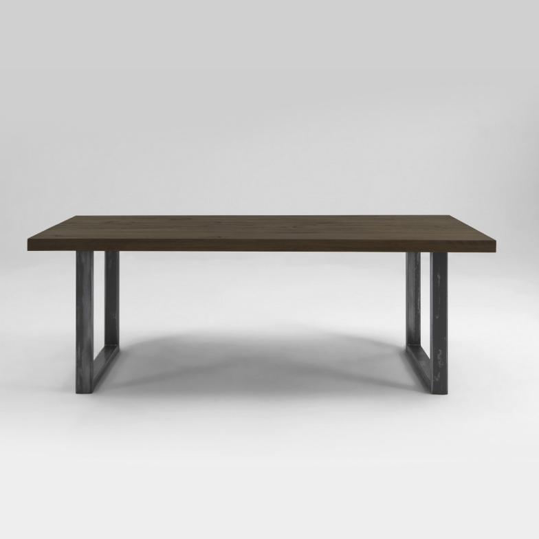Treviso Rustic Oak Dining Table Metal Legs