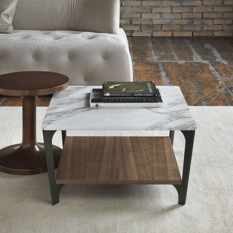 Stone Coffee Tables With Modern Style: Soho Square Marble & Wood Coffee Table