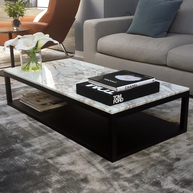 Klein Marble Coffee Table: Verona Marble & Wood Coffee Table