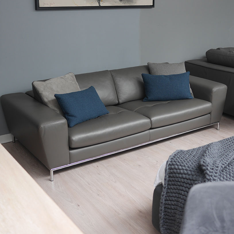 Ex Display: Aria Italian Leather Sofa, 3 Seater Part 8