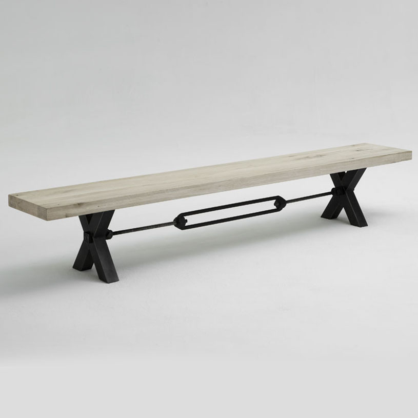 Bolt Solid Wood Metal Dining Bench