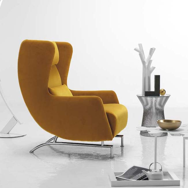 Bonobo modern yellow italian wing back armchair for Contemporary armchair