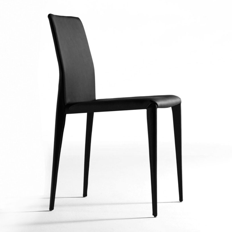Bruno black modern italian dining chair for Modern low back dining chairs