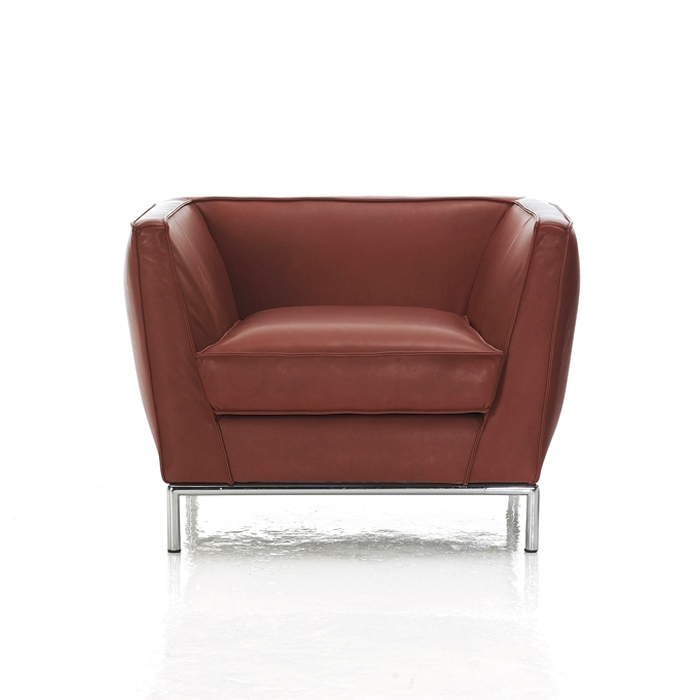 Caress Modern Armchair Burnt Orange Leather