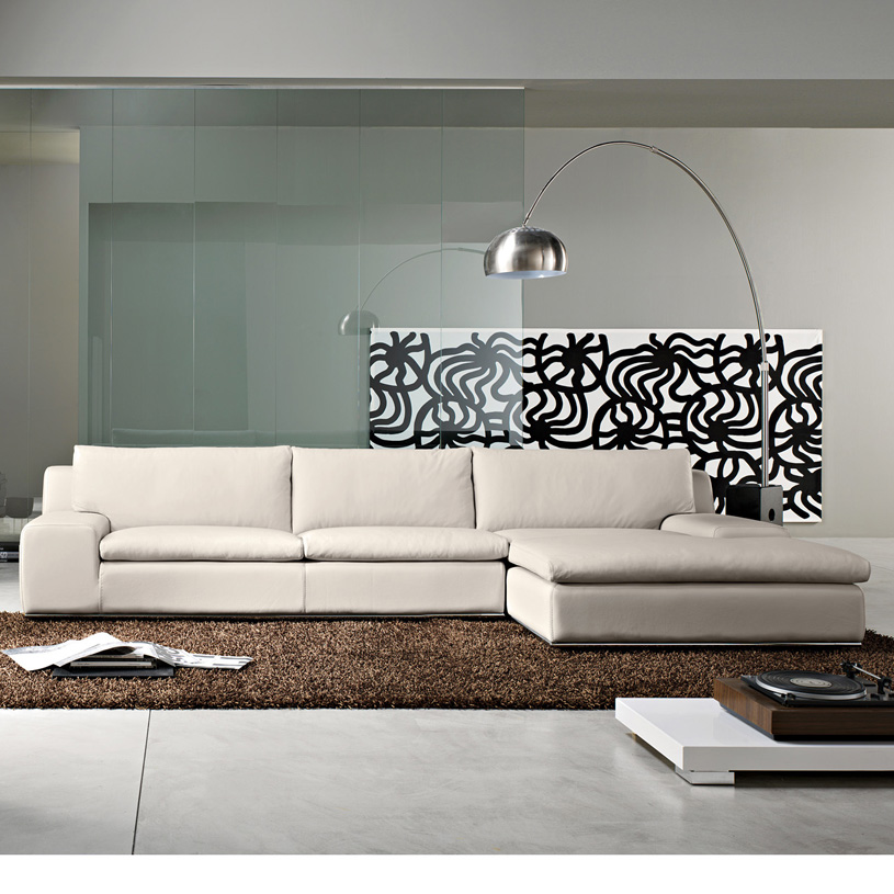 Geneva modern cream leather corner sofa Italian leather sofa uk