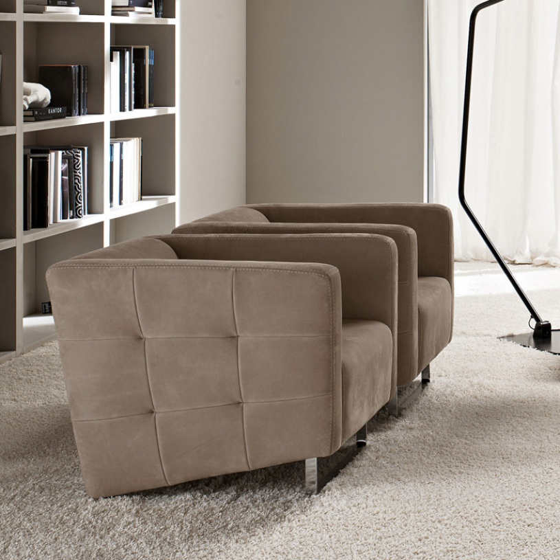 Madison taupe leather luxury armchair for Modern armchair