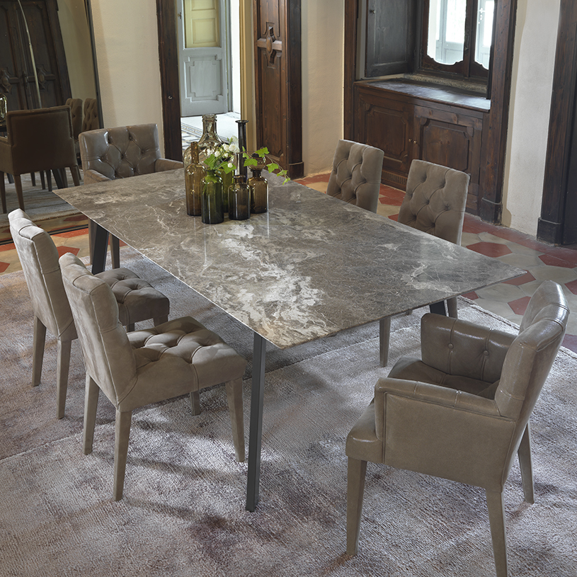 Pebble Marble Dining Table Metal Frame