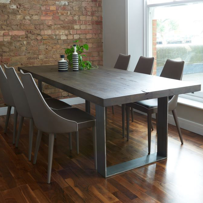 Modena Solid Wood U0026 Metal Dining Table