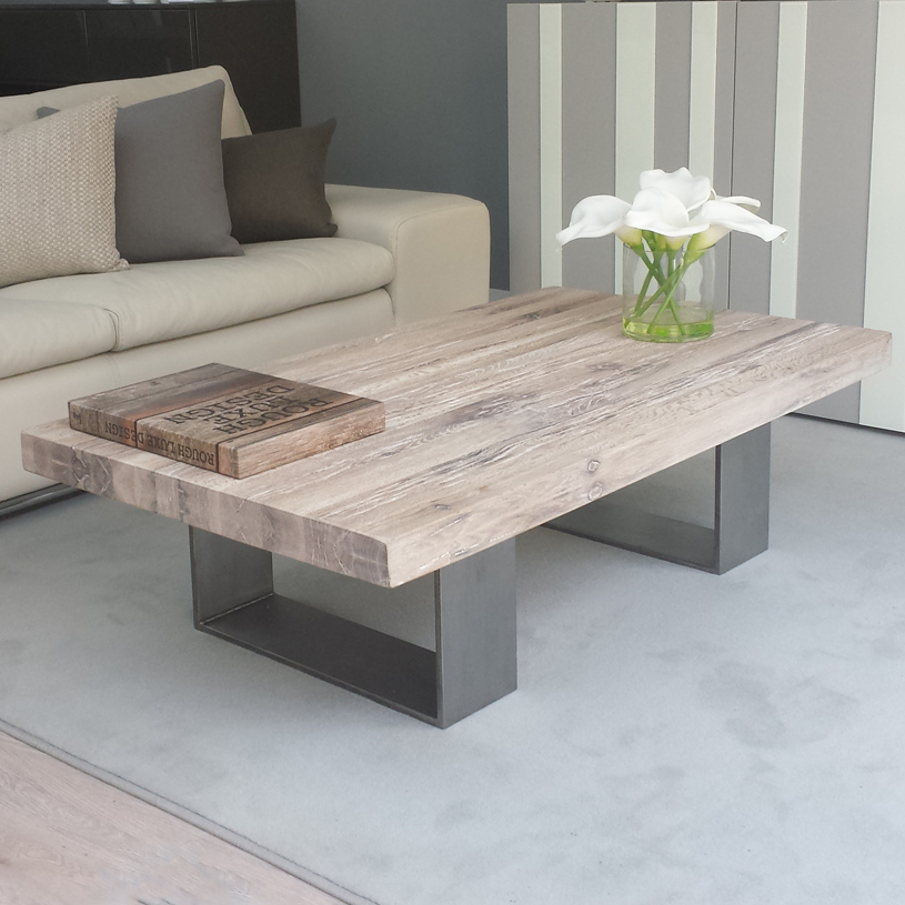 White wash wood dining table plain design weathered for Gray wood and metal coffee table