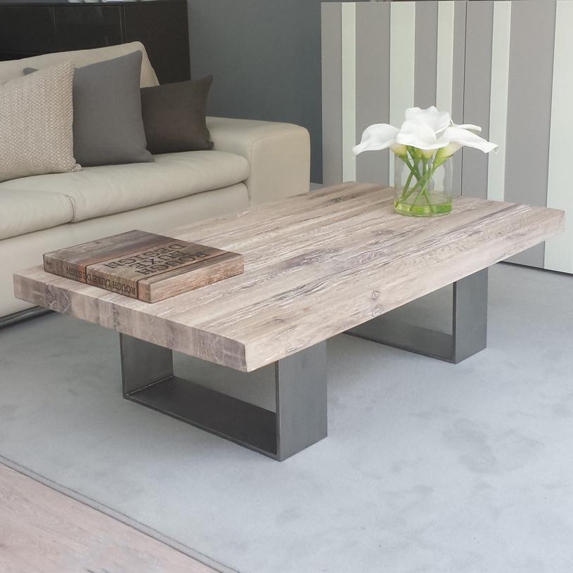 Modena Distressed Wood Metal Coffee Table