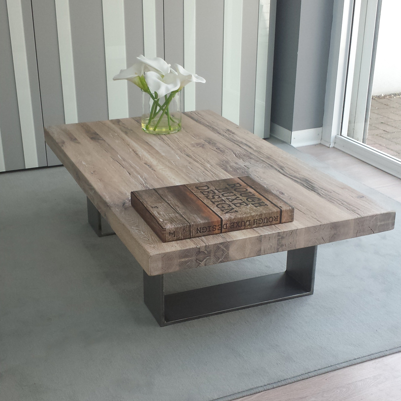 modena distressed wood & metal coffee table