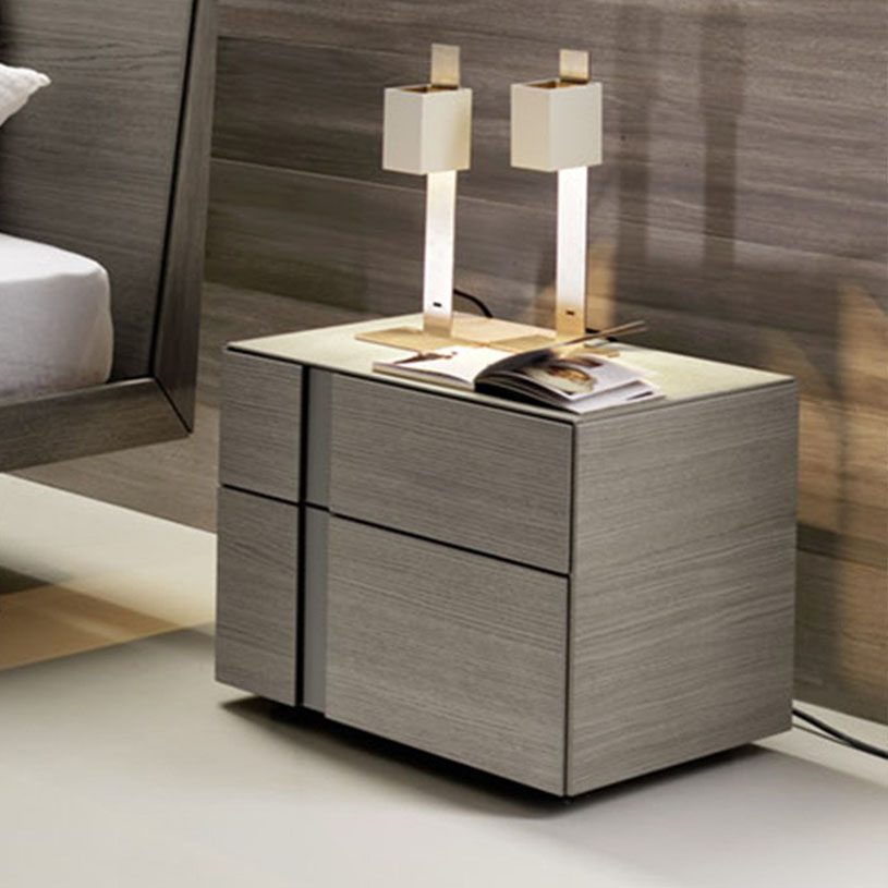 Muse 2 drawer bedside table grey oak for Bedroom table
