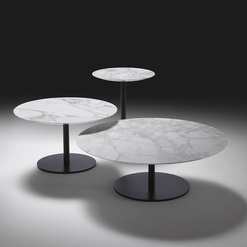 White Marble Table : Opera round marble coffee table contemporary