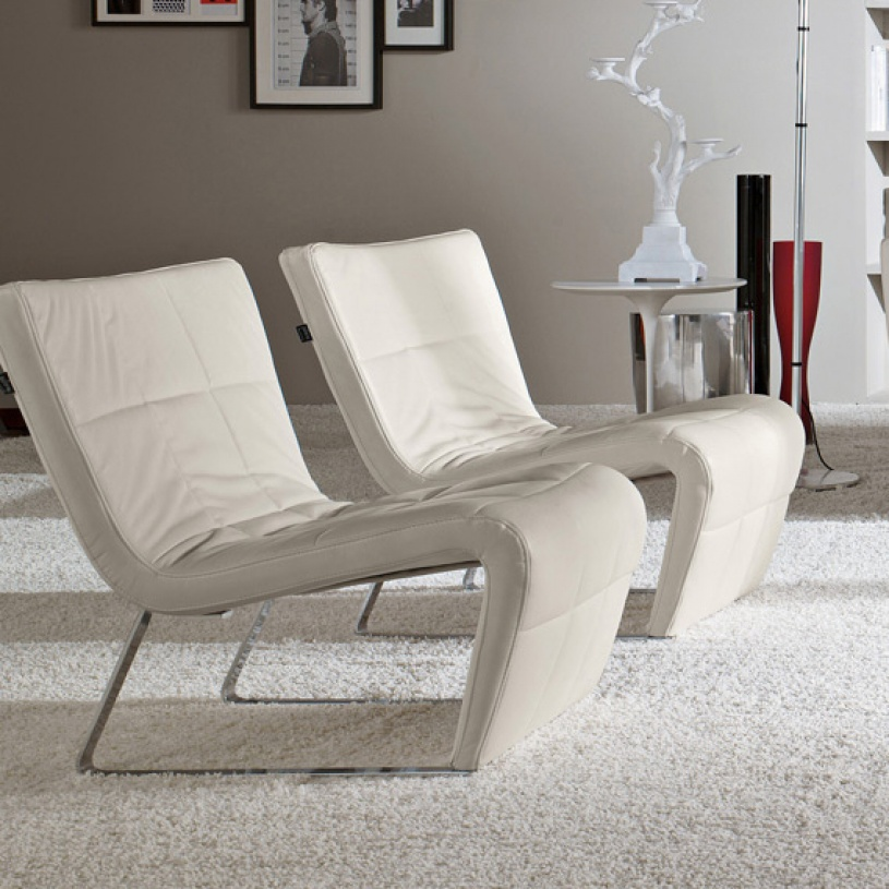 Contemporary Armchair Of Roulette White Leather Designer Armchair