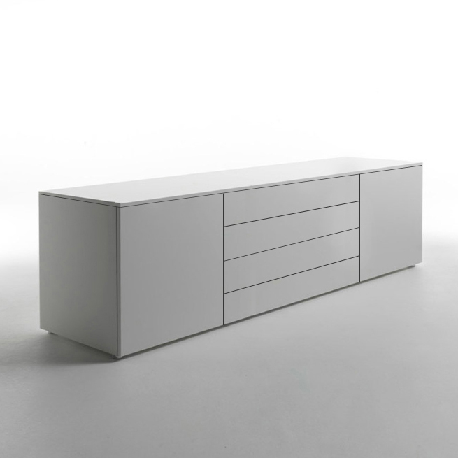 Space Modern White Matt Sideboard, Italian